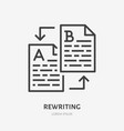 text rewriting flat line icon translation vector image