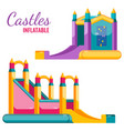two colorful castles inflatable isolated on white vector image vector image