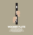Wooden Flute With Hands vector image