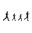 Black silhouettes of running people Family vector image