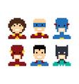 pixel people superhero avatar set vector image