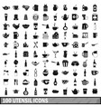 100 utensil icons set simple style vector image vector image