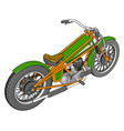 3d a green and yellow vintage chopper vector image vector image