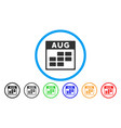 august calendar grid rounded icon vector image vector image