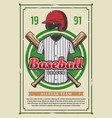 baseball sport league team tournament retro poster vector image vector image