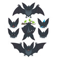 bat in various poses flying hanging grey bat vector image vector image
