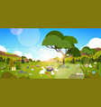 beautiful easter holiday background with green vector image