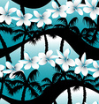 Blue tropical frangipani flowers with palm tree vector image vector image