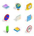 building school icons set isometric style vector image vector image