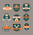 Camping flat set with hiking equipment logo