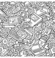 cartoon cute doodles hand drawn designer seamless vector image vector image