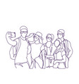 casual group of young people taking selfie photo vector image vector image