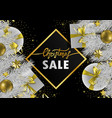 christmas sale web banner with geometric frame vector image vector image