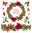 christmas set with festive elements vector image vector image