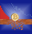 coin of bitcoin falls down with drop chart vector image
