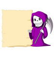 cute grim reaper with blank sign vector image vector image