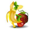dancing banana and strawberries vector image vector image