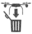 Drone Drop Trash Grainy Texture Icon vector image vector image