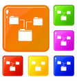 folders structure icons set color vector image vector image