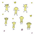 funny and sad doodle children hand drawn vector image vector image