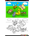 happy insects characters group color book vector image