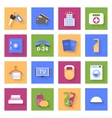 Hotel flat icons set with shadows vector image