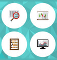 icon flat finance set of abacus chart search and vector image vector image