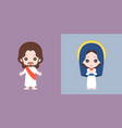 jesus and mary cute character flat design vector image vector image