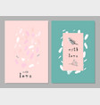 lovely abstract hand drawn greeting cards vector image vector image
