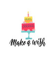 make a wish - hand letteing happy birthday cake vector image vector image
