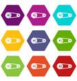 mechanic belt icon set color hexahedron vector image