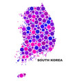 mosaic south korea map of round dots vector image vector image