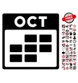 October Calendar Grid Flat Icon With Bonus vector image