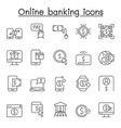 online banking icons set in thin line style vector image vector image