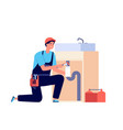 plumber man fixing pipeline water valve and sink vector image