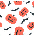 seamless pattern design with bats and halloween vector image