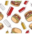 Seamless Pattern Fast Food Hamburger vector image vector image