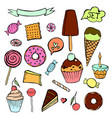 set of hand-drawn sweet pastries and cupcakes vector image