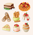 Set of italian desserts vector image vector image