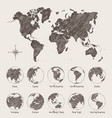 sketches map world land globe vector image vector image