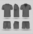 soccer black sports uniform male shorts and t vector image vector image