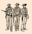 three cowboys with guns vector image
