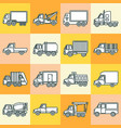 truck icons set in thin line style vector image vector image