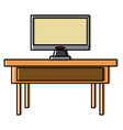 tv on desk vector image