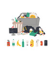 unsorted garbage in trash containers and bin bags vector image