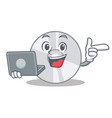 with laptop cd character cartoon style vector image