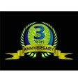 3 years anniversary laurel wreath set vector image