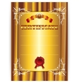 gold certificate on textile background vector image