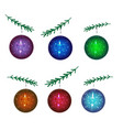 a set of christmas balls new year vector image