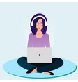 a woman is sitting and smiling vector image vector image